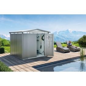 Biohort Gerätehaus Panorama mit Einzeltür silber-metallic