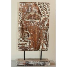 gartenselect Holzskulptur Halbes Buddha Gesicht weiß/braun
