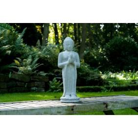 gartenselect Kunststeinfigur Standing Buddha naturgrau