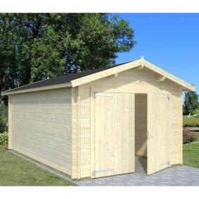 Palmako Garage Roger 16,3 m² - 34 mm - mit Holztor - naturbelassen