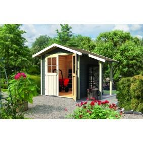 Karibu Gartenhaus Gerätehaus Lillesund 28 mm (Abb. inkl. Zubehör: Fußboden, Schleppdach und Dachschindeln)
