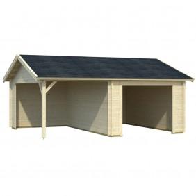 Palmako Garage Roger 16,1+13,1 m² - 44 mm - ohne Tor - naturbelassen