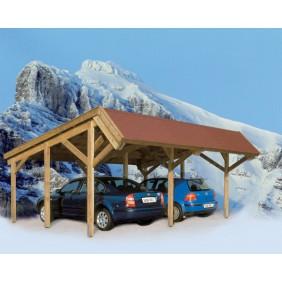 Skanholz Harz - Pultdach Doppelcarport aus Nadelholz Breite 624 cm