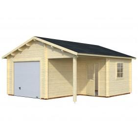 Palmako Garage Roger 21,9+5,2 m² - 44 mm - mit Sektionaltor - naturbelassen