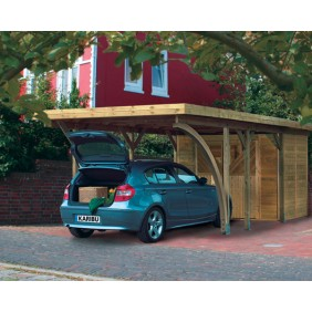 Karibu Carport Einzelcarport Classic Einzel 2 - Abb. inkl. einem Einfahrtsbogen, Geräteraum Einzel 1 kdi und 9 H-Pfostenanker - gegen Aufpreis erhältlich