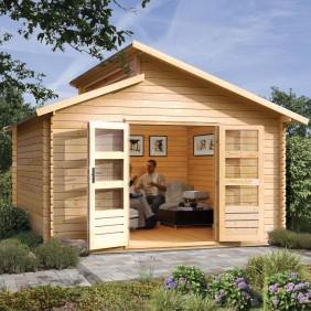 Karibu Premium Gartenhaus Blockbohlenhaus Värmland 2 (Abb. inkl. Zubehör: Fußboden, Schleppdach Värmland und Dachschindel)