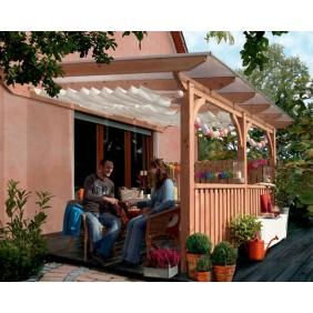 Karibu Premium Terrassenüberdachung Modell 1 A/B/C (Abb. inkl. Zubehör: 4 H-Pfostenanker, 2 Frontelemente, 1 Seitenwandelement und Sonnensegel)