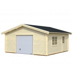 Palmako Garage Roger 27,7 m² - 70 mm - mit Sektionaltor - naturbelassen