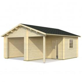 Palmako Garage Roger 21,9+5,2 m² - 44 mm - ohne Tor - naturbelassen