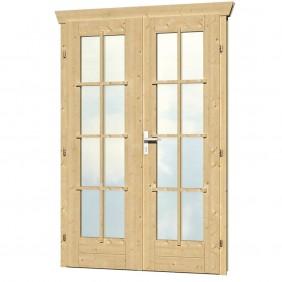 Skan Holz Doppeltür vollverglast für 28 mm Blockbohlenhäuser Echtglas
