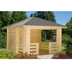 Palmako Pavillon Julie 10,5 m² - 28 mm - naturbelassen - outdoor