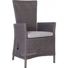 """Stern Sessel """"Sortino"""" verstellbar mit Geflecht basaltgrau und Kissen Dessin grau meliert"""