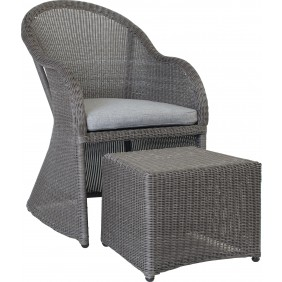 """Stern Sessel """"Mineo"""" mit Geflecht basaltgrau, Sitzkissen Dessin grau meliert und Fußhocker"""