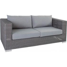 """Stern Sofa 2-Sitzer """"Avola"""" Geflecht basaltgrau mit Kissen Dessin grau meliert"""