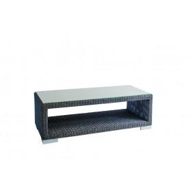 Stern Tisch Avola mit Geflecht basaltgrau und Glasplatte