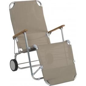 """Stern Beach """"Carry"""" Aluminium mit Bezug Textilen taupe und Teakarmlehnen Sitzposition"""