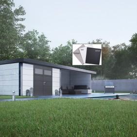 Wolff Finnhaus Metallgerätehaus Eleganto 2424 mit Lounge Anbau