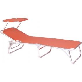 Stern Dreibeinliege mit Dach Aluminium und Bezug Textilen orange