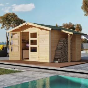 Karibu Premium Gartenhaus Blockbohlenhaus Hasselberg 28 mm