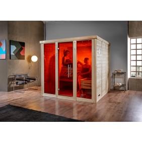 Weka Premium Massivholz-Elementsauna Kemi 1 mit Glastür+2 Fenster - Fronteinstieg - 45 mm