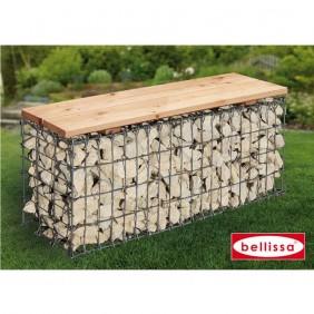 bellissa Gartenbank Gabione Sitz Holz 100x30x46cm