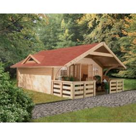 Karibu Premium Blockbohlenhaus Gartenhaus Girion 5/6 (Abb. inkl. Zubehör: Fußboden, Dachausbau mit Rundbögen, Dachgaube, Terrasse, Blumenkästen und Dachschindeln)