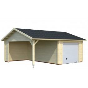 Palmako Garage Roger 16,1+13,1 m² - 44 mm - mit Sektionaltor - naturbelassen