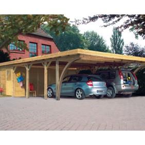 Karibu Carport Doppelcarport Classic Doppel 3 - Abb. inkl. 2 Einfahrtsbögen, Geräteraum Doppel 2 kdi und 14 H-Pfostenanker