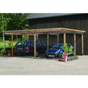 Karibu Classic Carport 1 Satteldach Doppel - Abb. inkl. Holzdachrinne und 6 H-Pfostenanker - gegen Aufpreis erhältlich