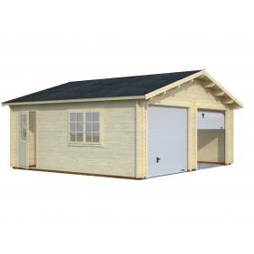Palmako Garage Roger 28,4 m² - 44 mm - mit Sektionaltoren - naturbelassen
