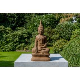 gartenselect Kunststeinfigur Thai Buddha braun