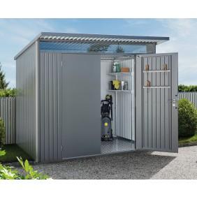 Biohort Gerätehaus Avantgarde mit Doppeltür Größe L quarzgrau-metallic