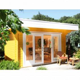 Wolff Finnhaus Gartenhaus Sophie 44-A/B mit Schiebetür isolierverglast