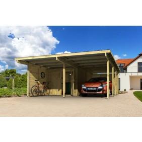 Karibu Doppelcarport Eco inkl. H-Anker & Beschlagbeutel - Aktionsangebot