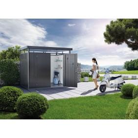 Biohort Gerätehaus HighLine mit Doppeltür-275 x 235 cm (Gr. H 3)-dunkelgrau-metallic B-Ware
