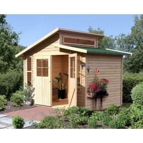 Karibu Eco Gartenhaus Gerätehaus Grafenau 6/7 - 19 mm (Abb. inkl. Zubehör: Fußboden und Dachschindeln)