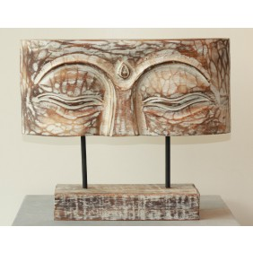 gartenselect Holzskulptur Buddha Augen weiß/braun