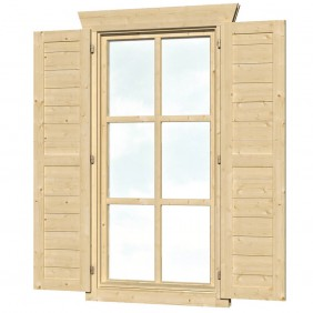 Skan Holz Fensterläden für 28 mm Blockbohlenhäuser Einzelfenster