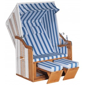 Müsing SunnySmart Strandkorb Rustikal 50 Basic 2-Sitzer weiß Stoff Nr. 1171