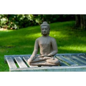 gartenselect Kunststeinfigur Sitzender Buddha Borrobudur braun
