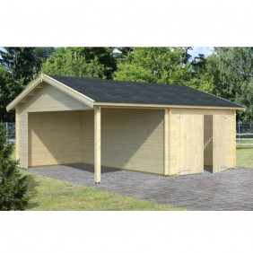Palmako Garage Roger 16,1+13,1 m² - 44 mm - mit Holztor