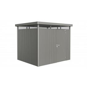 Biohort Gerätehaus HighLine mit Einzeltür-275 x 235 cm (Gr. H 3)-quarzgrau-metallic inkl. Regenfallrohrset B-Ware