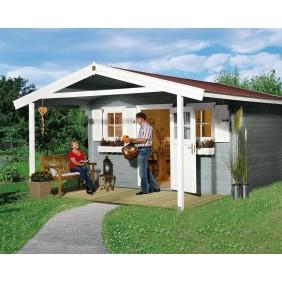Weka 28 mm Blockbohlenhaus Konstanz 1 mit Vordach (200 cm)