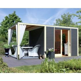 Karibu Flachdach Gartenhaus Cubus Front 28 mm (Inkl. Fußboden, Dachanbau, Terrassendielen, 2 x Set Schals und H-Pfostenanker - gegen Aufpreis erhältlich)