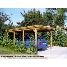 Skan Holz Holstein - Flachdach Einzelcarport 115er - Breite 373 cm Nadelhol