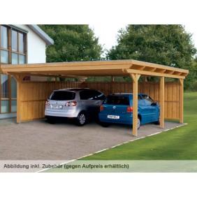 Skan Holz Emsland - Flachdach Doppelcarport aus Leimholz Breite 613 cm