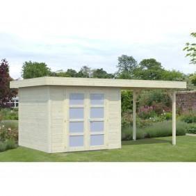 Palmako Gartenhaus Lara 6,0 + 5,9 m² - 28 mm - naturbelassen