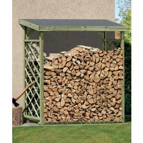 T&J OLE Kaminholzregal grün 208 x 80 x 204 cm