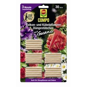 COMPO Balkon- und Kübelpflanzen Düngestäbchen mit Guano (30 Stäbchen)