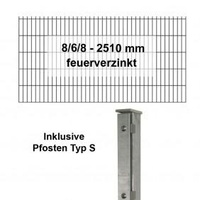 Kraus DS 8/6/8 - 2510 mm feuerverzinkt - Pfosten S - Komplettset